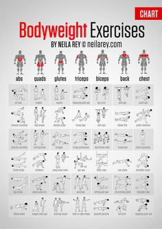 Bodyweight Exercises Chart - Full Body Workout Plan To Be Fit Ab - PROJECT NEXT - Bodybuilding & Fitness Motivation + Inspiration - hopefully this won't make me looking like the Hulk, but I do love me some body weight exercises Body Fitness, Health Fitness, Workout Fitness, Workout Bodyweight, Workout Tips, Workout Plans, Workout Routines, Neila Rey Workout, Workout Muscle Groups