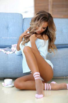cute blonde and brunete girls in bikini and sexy linjerie . Beautiful Women Pictures, Most Beautiful Women, Beautiful Models, Katerina Kristall, Markova, Sexy Socks, Fishnet Socks, Russian Models, Sensual