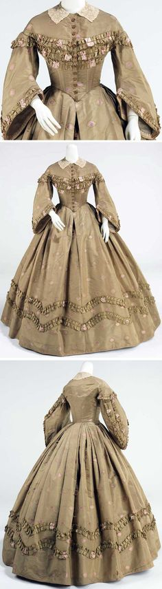 """Afternoon dress, American, ca. 1862. Silk, cotton, wool. Metropolitan Museum of Art: """"The fashions during this time allowed the textiles to stand out because of the vast surface areas of the skirt and a relatively minimal amount of excess trim."""""""