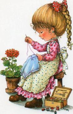 Vintage Postcard Mary May by CuteEyeCatchers on Etsy Vintage Cards, Vintage Postcards, Sarah Key, Holly Hobbie, Sewing Art, Vintage Children, Cute Drawings, Cute Art, Art For Kids
