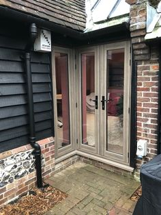 French door in Silvered Oak with side light Traditional Windows, Home Renovation, French Doors, Bungalow, Garage Doors, Exterior, Outdoor Decor, House, Decorating