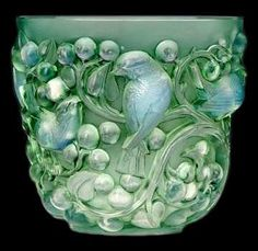 Lalique. bird, floral, glass, container, art nouveau, art deco, animal, woodland, carving, pattern, mint, green