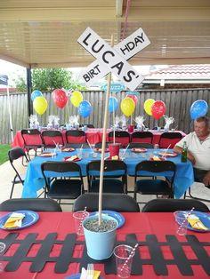 """Photo 12 of Thomas the Train / Birthday """"Thomas Birthday"""" . Apr Photo 12 of Thomas the Train / Birthday """"Thomas Top Thomas Thomas Birthday Parties, Thomas The Train Birthday Party, Trains Birthday Party, Birthday Party Tables, Birthday Fun, Birthday Ideas, Birthday Decorations, Train Decorations, Chuggington Birthday"""