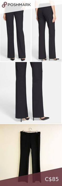"""Theory Emery Pants black size 10 Theory emery pants Size 10 Black Waist laying flat 16"""" Inseam approx 34"""" Front rise 9"""" Back rise 14.5"""" 90% polyester / 10% Lycra The perfect amount of stretch and super sleek In great condition Theory Pants & Jumpsuits Trousers Pant Jumpsuit, Trousers, Black Dress Pants, Wool Dress, Cropped Pants, Jumpsuits, Pants For Women, Size 10, Overalls"""