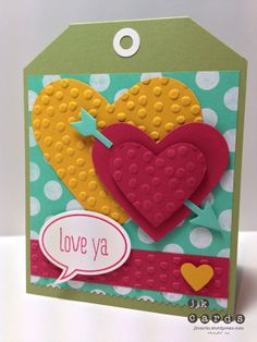 Stampin' Up!, Paper Players 178, Just Sayin', Fresh Prints DSP Stack, Decorative Dots Embossing Folder, Adorning Accents Embossing Folders, Hearts Collection Framelits, Word Bubbles Framelits, Label Card Thinlits,  Finishing Touches Edgelits, Full Heart Punch, Small Heart Punch