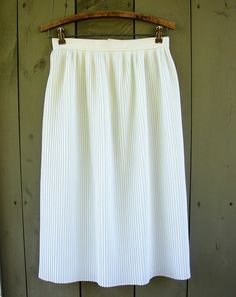 Vintage white micro pleated midi skirt by bonmarchecouture, $10.00