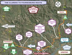 Self-drive route Clarens to Fouriesburg map