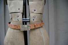 Vintage Hand Tooled Leather Belt With Gold and Silver by Untried