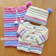 Free baby crochet pattern three piece outfit usa 18 in cồ vuong Crochet Baby Sweaters, Crochet Baby Cardigan, Baby Girl Crochet, Crochet Baby Clothes, Crochet Baby Outfits, Knitting For Kids, Crochet For Kids, Baby Knitting, Free Crochet
