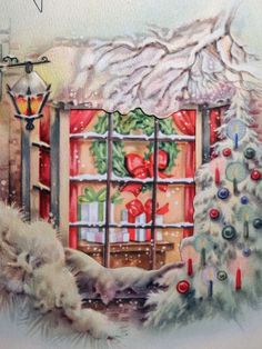 1940s Cozy Window Scene Vintage Christmas Card