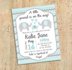 Teal and Grey Elephant Baby Shower by BluePandaInvitations on Etsy