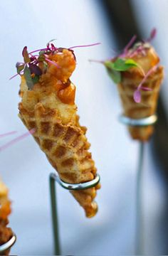 Chicken and waffles - wedding finger foods. Cocktail hour... Do this vege style!! That Would be amazing! Put some SAMs chicken in that joint!
