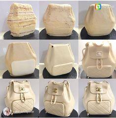 Backpack Chanel Cake – Famous Last Words Cake Icing, Fondant Cakes, Cupcake Cakes, Fondant Cake Tutorial, Fondant Bow, Fondant Flowers, Fondant Figures, Cupcakes, Crazy Cakes