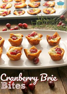 Cranberry Brie Bites recipe from The Country Cook Cranberry Brie Bites are a super easy but beautiful appetizer. Made with crescent roll dough, brie, cranberry sauce and a sprig of rosemary! Brie Bites, Holiday Appetizers, Appetizer Recipes, Party Appetizers, Canapes Recipes, Simple Appetizers, Thanksgiving Recipes, Holiday Recipes, Thanksgiving 2020