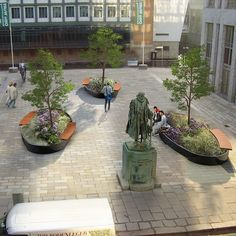 STREETLIFE Mobile Green Isles Oval. Green isles are moveable plant boxes with integrated Hardwood seats