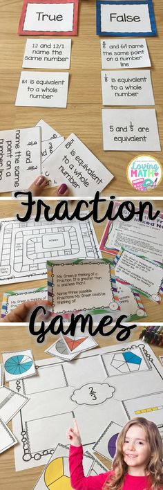 Seven Fraction Games Activities for grades 3, 4, and 5. Equivalent Fractions, Fractions on a Number Line, Sorting, Fraction Word Problems