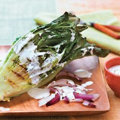 We LOVE grilled Romaine lettuce ...but can't wait to try it with this simple buttermilk chive dressing.  Sounds so fresh!