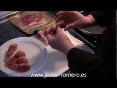 Cucuruchos de jamón con crema de setas
