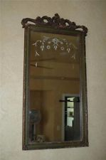 Antique 3 Panel Etched Wood Floral Piano Buffet Mantle