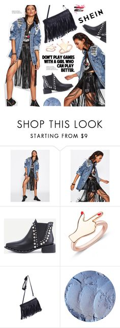 """shein"" by meyli-meyli ❤ liked on Polyvore featuring Liis Japan, WithChic, Bobbi Brown Cosmetics, denim, ring, jacket, LeatherBag and shein"