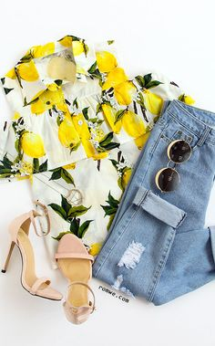 Yellow Cold Shoulder Lapel Lemon Printed Button Blouse with denim ripped jeans and cute heels from romwe.com