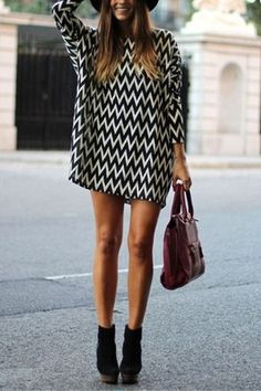 Wave Point Long Sleeves Mini Dress