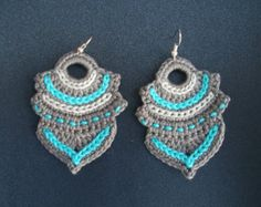 Dangle earrings handmade crochet grey, light grey, light blue abstract shape