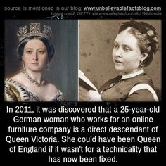 history facts In it was discovered that a German woman who works for an online furniture company is a direct descendant of Queen Victoria. She could have been Queen of World History Facts, Black History Facts, History Memes, Strange History, Creepy History, Witch History, Random History Facts, History Timeline, Today In History