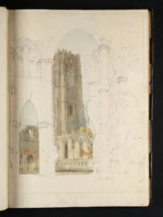 Artwork page for 'Fountains Abbey: Huby's Tower from the Chapel of the Nine Altars', Joseph Mallord William Turner, 1797 Joseph Mallord William Turner, Artist Journal, Artist Sketchbook, New Architecture, Architecture Drawings, Turner Painting, Painting & Drawing, Turner Watercolors, Sketchbook Inspiration