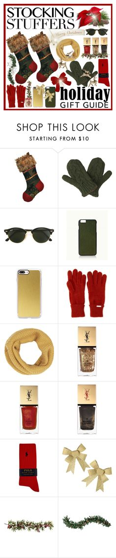 """""""Stocking Stuffers"""" by jackie22 ❤ liked on Polyvore featuring Laundromat, Ray-Ban, GiGi New York, Casetify, Steve Madden, Yves Saint Laurent, Polo Ralph Lauren, Nearly Natural, Improvements and Aromatique"""