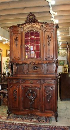 ~ Beautiful French Antique Walnut Beveled Glass Door Louis XV Buffet ~ ebay.com