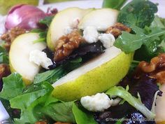 Pear Gorgonzola Salad w/Walnuts & Maple vinaigrette: addictive salad. Sweet maple vinaigrette w/pure maple syrup & shallots complements…