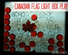 Celebrate Canada Day with this light table (or light box) idea from And Next Comes L Sensory Activities, Infant Activities, Motor Activities, Sensory Play, Toddler Crafts, Crafts For Kids, Social Studies For Kids, Canada Day Fireworks, Canada Birthday