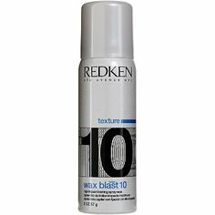 Redken Wax Blast 10 High Impact Finishing Spray-Wax. Adds body and dimension and creates a choppy, satin-matte finish. Innovative aerosol wax provides the finish of a wax with the convenience and lightness of a spray.