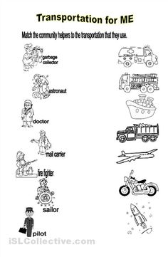Printables Community Helpers Worksheets community helpers worksheets for preschoolers students will identify the transportation used by means of transport reading speaking writing worksheet