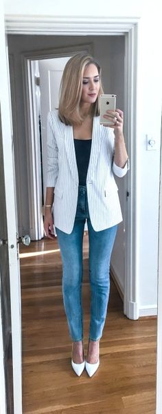 image from @ maryorton on instagram -- click for outfit details and links to everything i'm wearing!  White pinstripe blazer, high-waisted skinny jeans mom jeans, white leather pumps