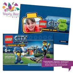 Lego City invitation Lego City birthday invitation Lego Police