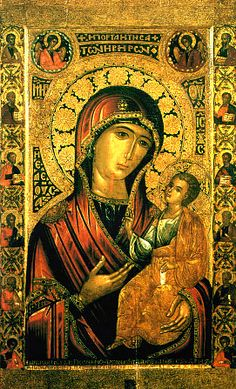 During iconoclast heresy, icons were taken from people. When soldiers cut the icon of a pious Nicean widow, blood flowed. God told her to cast the icon in the sea; it stood upright and sailed west. Soon Mount Athos Iveron monks saw a pillar of light on the sea; it lasted several days. Virgin Mary told them only a monk named Gabriel was worthy to take it. The icon was put in the sanctuary but found at the gate several times. Virgin Mary told monks she would protect them, not otherwise. (Feb 1...