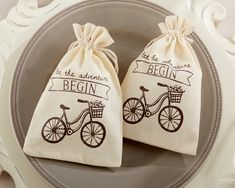 "Get started on the journey of a lifetime with a little wedding favor that packs a lot of whimsical flavor! Fill these cute muslin ""Let the Adventure Begin"" bags with candy or other treats for a fun favor."