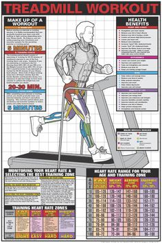 TREADMILL WORKOUT Professional Fitness Wall Chart Poster - Available at www.sportsposterwarehouse.com