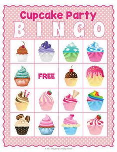 Cupcake BINGO Game Cupcake Wars Party, Cupcake Day, Happy Birthday Cupcakes, Kid Cupcakes, Bingo Party, Kids Party Games, Educational Games For Kids, Learning Games, Birthday Party Games