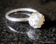 I designed this lovely freshwater sterling silver ring using an mm fine quality freshwater with lots of lovely luster and thick nacre. I set the pearl in a sterling heart pattern…More Pearl Jewelry, Jewelry Box, Silver Jewelry, Jewelry Accessories, Pearl Rings, Pearl Bracelets, Pearl Necklaces, Gold Jewellery, Jewelry Necklaces