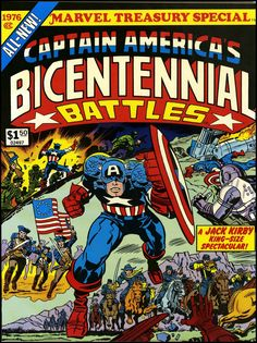 Captain America comic. wonderful-strange: fantasy ink:Cover art by Jack Kirby, 1976. Happy 4th of July!
