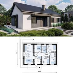Small Modern House Plans, Beautiful House Plans, Small House Design, Guest House Plans, Dream House Plans, House Floor Plans, Flat Roof House, Facade House, House Construction Plan
