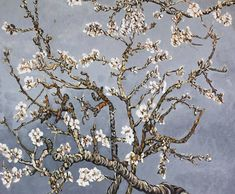 Branches of an Almond Tree in Blossom - Van Gogh oil painting reproduction #homedecor Classic Home Decor, Classic House, Buy Olive Tree, Oil Painting Reproductions, Pearl Grey, Gray Background, Vincent Van Gogh, Branches, Almond