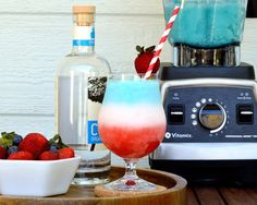 This red-white-and-blue Strawberry Colada recipe by David and Lesley Jacobs Solmonson of 12 bottle bar is perfect for July 4th.