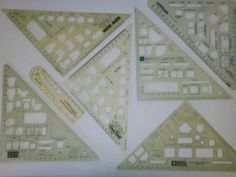 Professional Architect Drawing Templates LOT of 7 - Fixtures Cabinets Doors