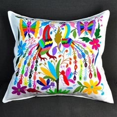 Large Hand Embroidered Otomi Pillow with Insert