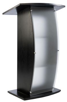 """Podium for Floor, Curved Post, Frosted Front Acrylic Panel, 44.25"""" Tall - Black"""