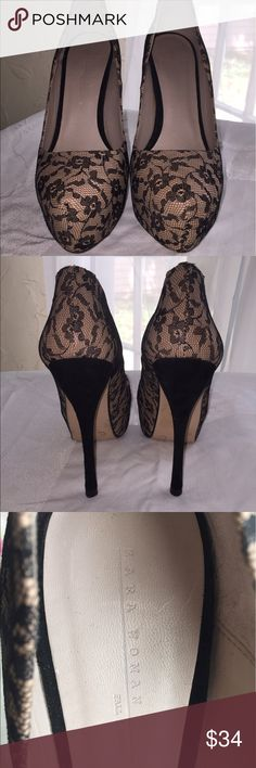 Zara Woman High Heels 👠 These are HOT!🔥🔥🔥 Tan with Black Floral Lace.  Heels are black suede.  One heel does have a nick as shown in picture.  Other than that are in excellent condition!  Size 38.   Sorry no modeling or trades.  ✌️❤️ Zara Shoes Heels